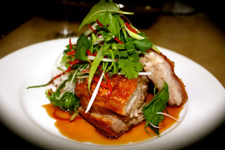 Crispy Pork Belly with Asian Style Caramel Sauce and Herb Salad