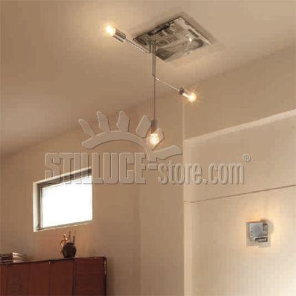 Linealight Ma&De Momaboma soffitto 3 luci. Momaboma è una famiglia di lampade in metallo cromato  con una base in resina epossidica nella quale sono immersi fogli di riviste originali d'epoca. Attacco predisposto per lampadine E27 con possibilità di installare una lampadina con qualsiasi sorgente.