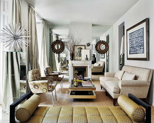 Living Room Furniture Arrangement Style With Mirrors Beside