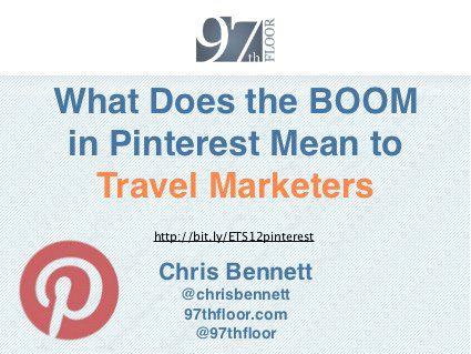 Chris Bennett 97th Floor eTourism Summit 2012 Pinterest for Travel Marketers #PinterestMarketing
