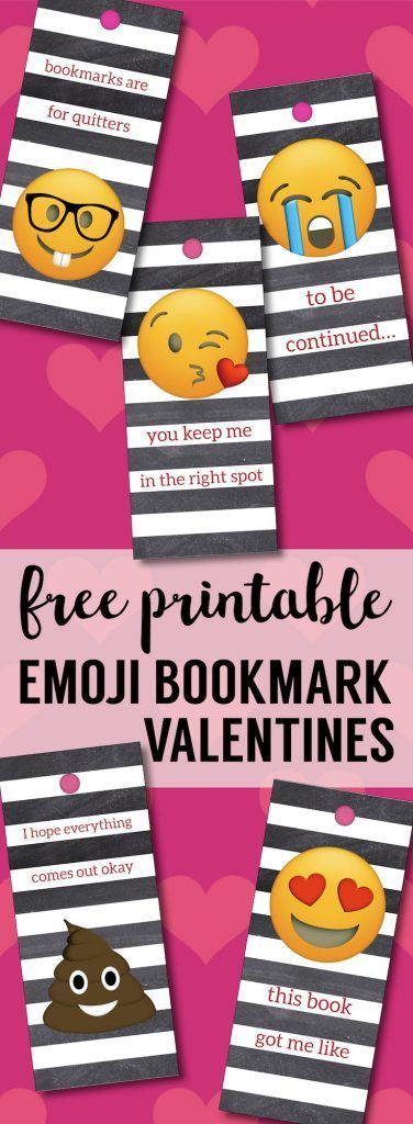 Emoji Bookmarks - Free Printable Bookmarks. DIY Free printable Valentine's Day bookmarks. Easy free Valentine cards printable. Homemade Valentine card ideas. #papertraildesign #emojivalentine #DIYvalentine #emoji