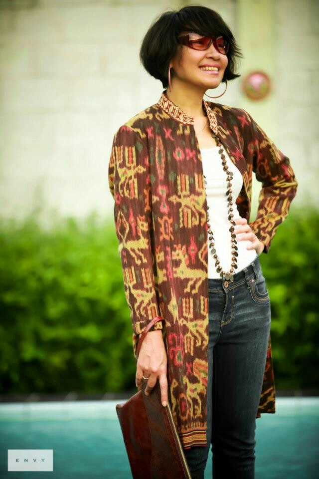 Ikat long over coat