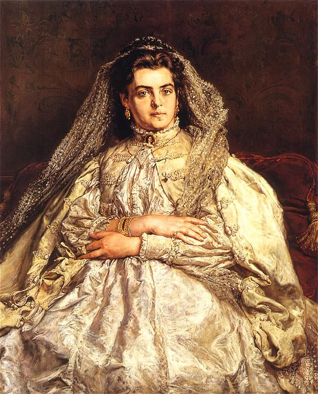 Teodora Matejko (artist's wife) by Jan Matejko (Polish, 1838-1893) ~ He was a Polish painter known for paintings of notable historical Polish political and military events. He married Teodora Giebultowska, with whom he would have five children: Beata, Helena, Tadeusz, Jerzy and Regina.