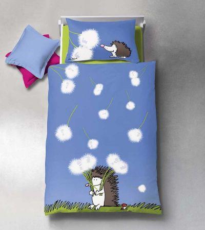 Hochwertige Bettwäsche für Kinder mit süßem Igel. In Blau für Jungen und Mädchen gleichermaßen hübsch.