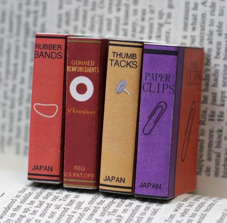 Make Mini Office Supply Book Covers for Matchbooks (Free Download): Books Covers, Dollar Stores Crafts, Minis Books, Minis Offices, Small Offices, Tiny Offices, Matching Boxes, Matchbox, Offices Supplies
