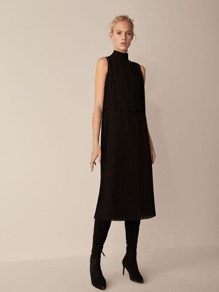 PLEATED DOUBLE LAYER DRESS - Women - Massimo Dutti