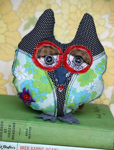 Darls small stitched owl by DudleyandGrace on Etsy