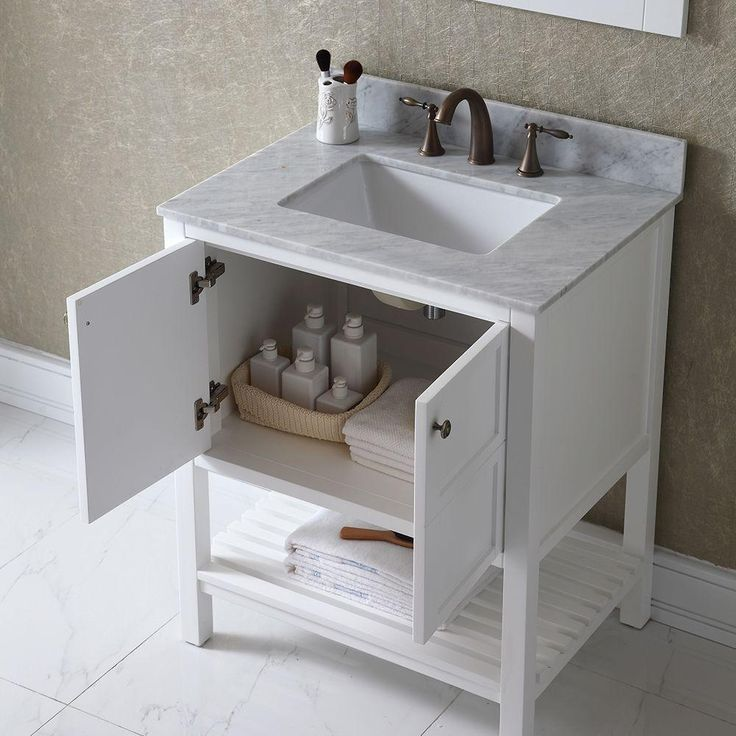 Virtu USA Winterfell 30 in. Vanity in Antique White with Marble Vanity Top in Italian Carrara White and Mirror-ES-30030-WMSQ-WH - The Home Depot