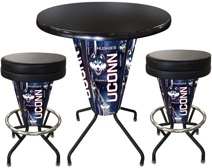 UConn Huskies D1 Black Lighted Pub Table Set. Two additional Stools are optional. Visit SportsFansPlus.com for details.