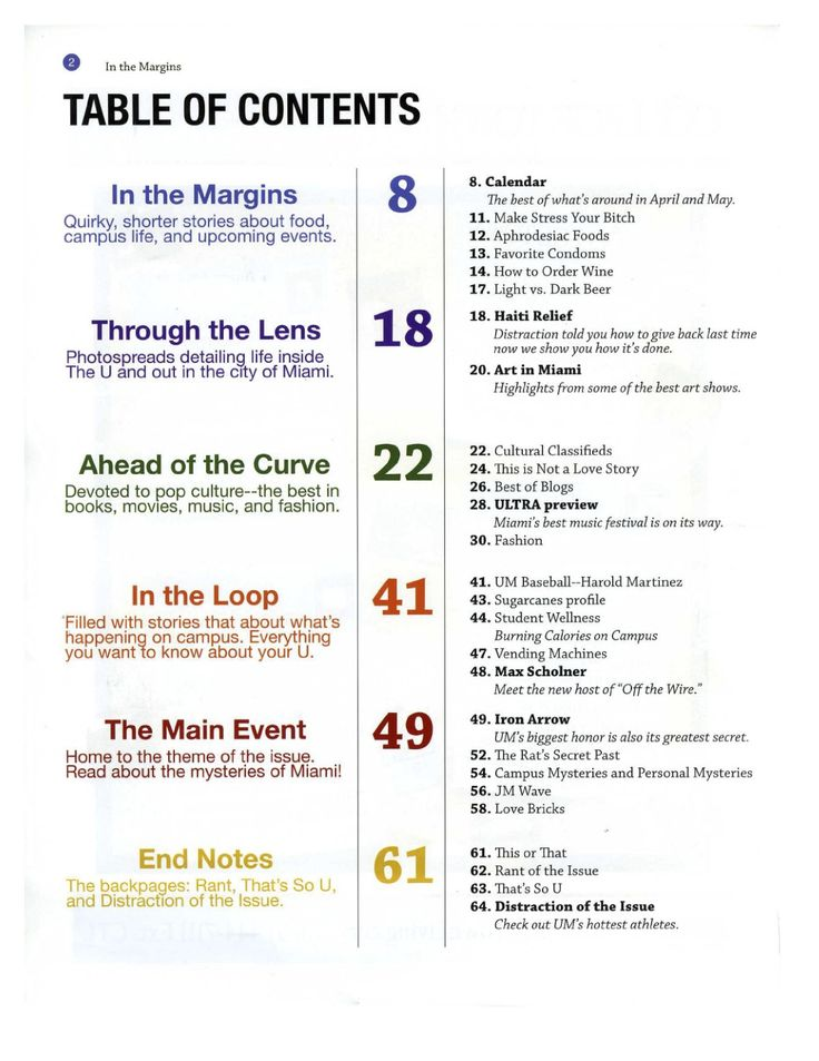 """Table Of Contents Design 