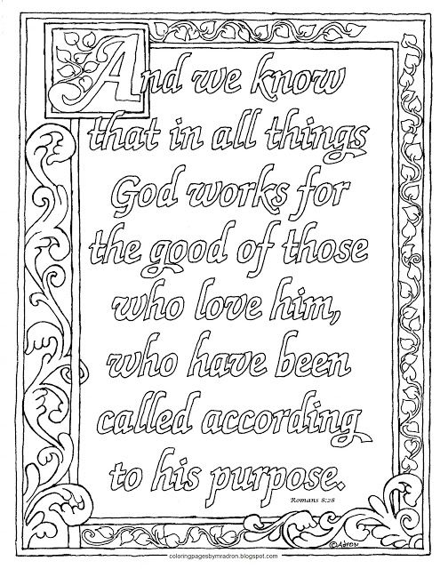 Coloring Pages for Kids by Mr. Adron: Printable Romans 8:28 Coloring Page.