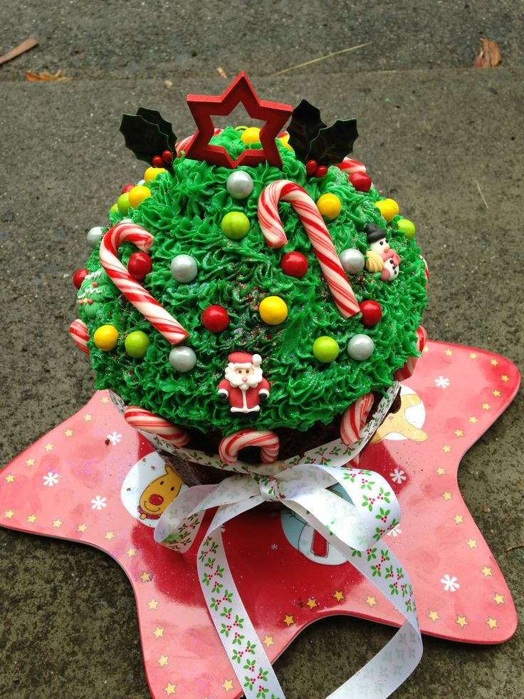 Our Xmas giant festive cupcake