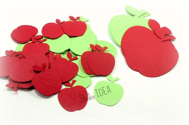 """1.5"""", 3"""" Apple Cut-outs - Mixed Apple Green and Red Apple Cutouts,Confetti- or Choose Your Colors & Size by StudioIdea on Etsy"""