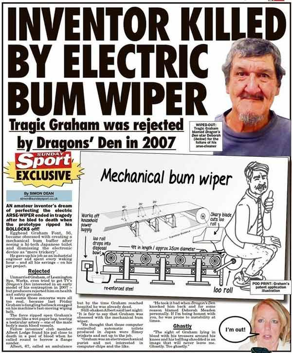 33 Funny Pics of the Day ~ newspaper headline: inventor killed by electric bum wiper