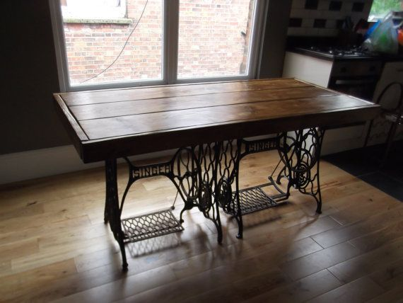Handmade RUSTIC DINING TABLE with vintage singer sewing machine treadles and reclaimed timber finished in dark oak briwax