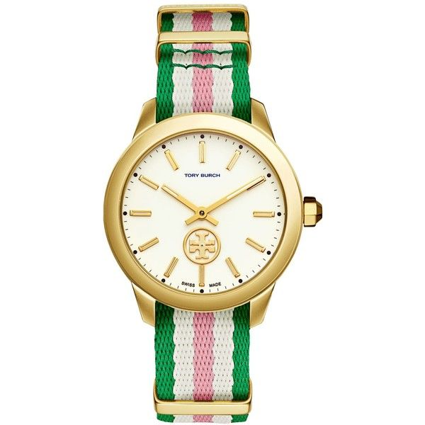 Tory Burch Women's Swiss Collins Multicolor Striped Fabric Strap Watch... ($295) ❤ liked on Polyvore featuring jewelry, watches, multi stripe, tory burch jewellery, dial watches, multi color jewelry, multi colored jewelry and colorful jewelry