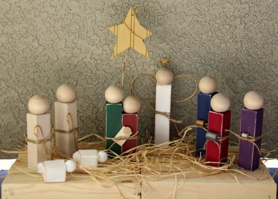 Simple Distressed Wooden Nativity Set by ATreasureRedefined