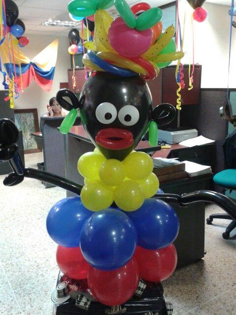 Escultura de globos de fiesta temática colombiana. #FiestaColombiana