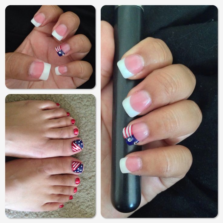 Red, White And Blue Nail Design