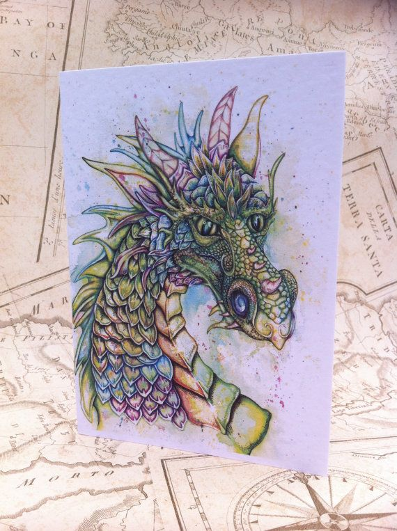Dragon Card A6 Greeting Card Greetings card by RosehartStudio