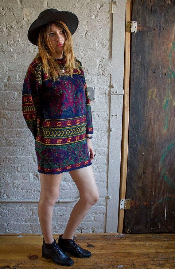 Vintage 90s 80s Grunge Goth Green Brown Floral Oversized  Sweater/Sweater Dress