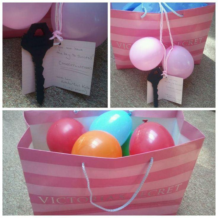CASH GIFT IDEA -- put bills in each balloon and then blow up. Make a key that has a pin attached to end, wrote key to success on the note, and they use the key (with the pin end) to pop balloons to get money out! SHE LOVED IT!