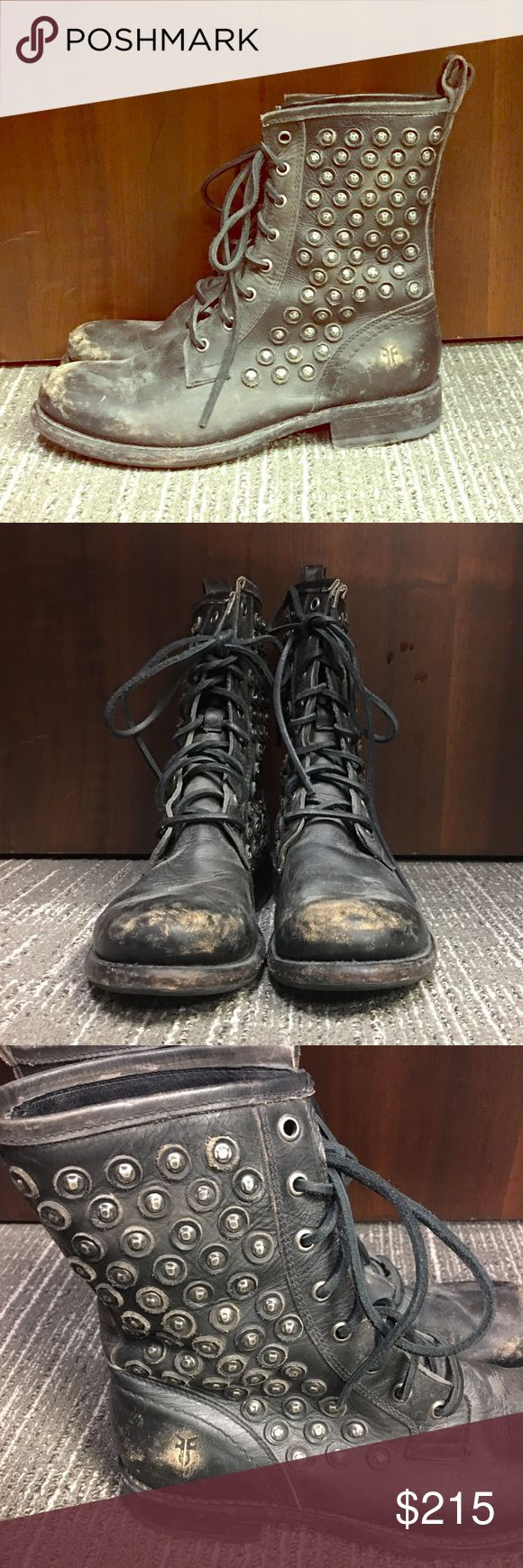 FRYE Jenna Distressed Disc Studded Combat Boot Minimal Wear! Maybe 3 times! Fits true to size! No signs of wear except slightly on bottom! Black leather!! BEAUTIFUL!!! 💃🏻 Frye Shoes Combat & Moto Boots