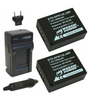 The Wasabi Power NPW126 battery and charger kit includes 2 batteries and one charger with a European plug and car adapter. All items meet or exceed OEM standards and come with a 3-year manufacturer warranty.  Batteries replace Fuji NP-W126 Charger replaces Fuji BC-W126  Compatible with the following Fuji models: FinePix HS30EXR FinePix HS33EXR FinePix HS35EXR FinePix HS50EXR FinePix X-A1 FinePix X-E1 FinePix X-E2 FinePix X-M1 FinePix X-Pro1 FinePix X-T1  Features : This Wasabi Power kit…