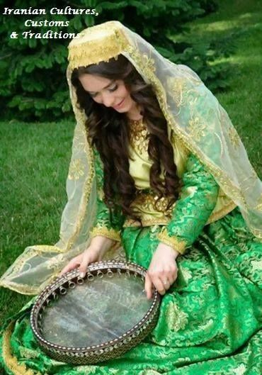 Iranian Woman in beautiful Iranian Azerbaijani Traditional Clothing Pin From: https://www.facebook.com/IranianTraditions/photos/a.471302206236209.114521.471297899569973/915352788497813/?type=1