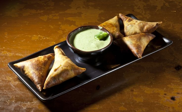 Spiced Chicken Samosa with Cilantro Yogurt from Spice Market in NYC ...