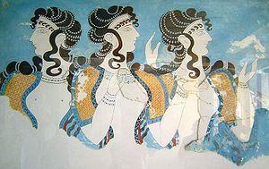 Acconciatura cretese, capelli lunghi e inanellati, riccioli sulla fronte, a spirale