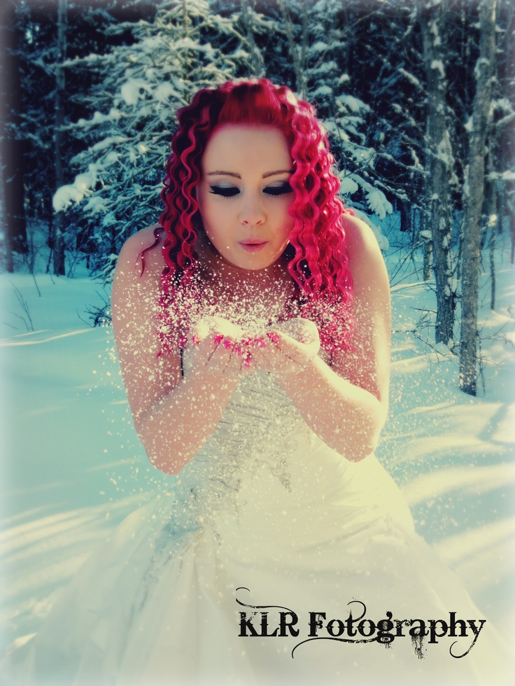 Snow princess themed shoot. Pink hair. Winter photo tip : use fake snow instead of real snow to blow off of hands, much warmer and 100x easier.