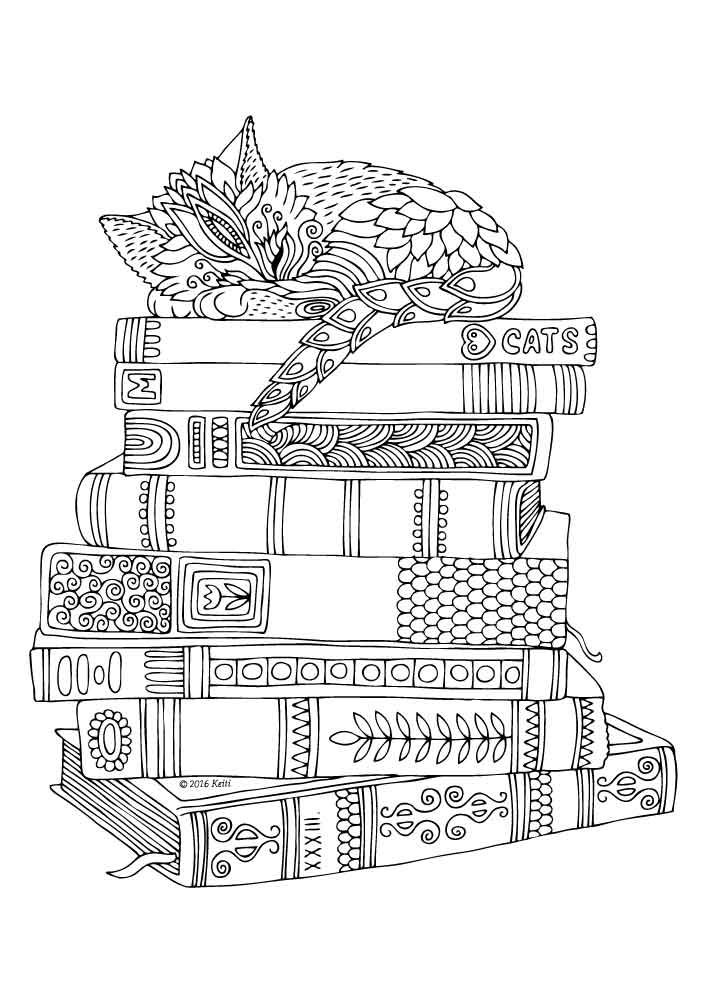 illustration by keiti coloring page - Book Coloring Page
