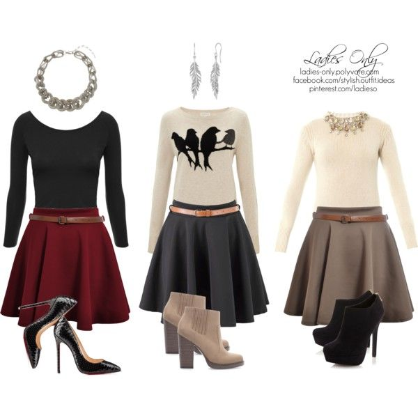 """1 skirt,3 outfits"" by ladies-only on Polyvore"