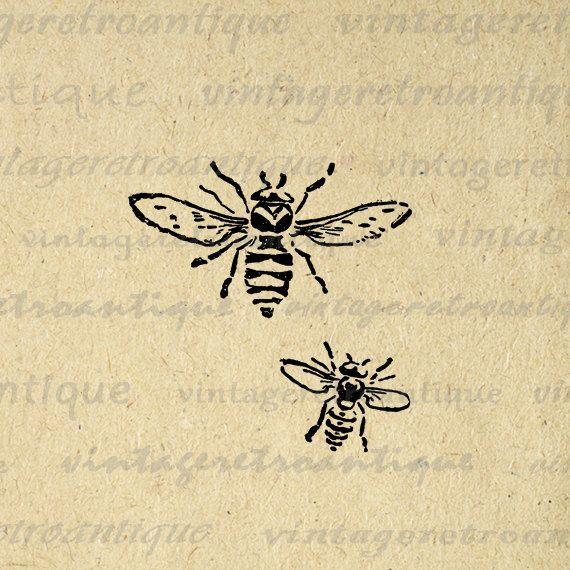 Printable Image Bees Graphic Bee por VintageRetroAntique en Etsy