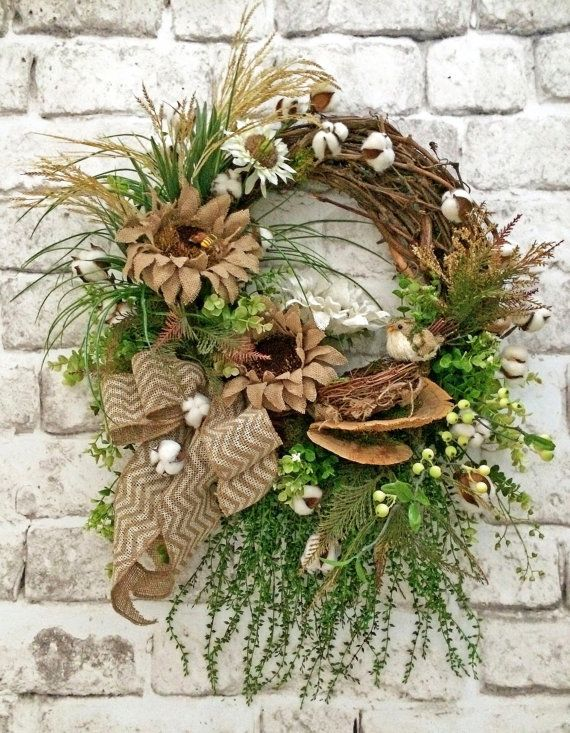 Cotton and Burlap Sunflower Wreath Front Door door AdorabellaWreaths