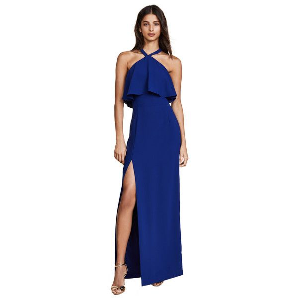 Amanda Uprichard Piazza Maxi Dress ($240) ❤ liked on Polyvore featuring dresses, sapphire, blue halter dress, halter neck dress, halter tops, sleeveless dress and halter-neck maxi dresses