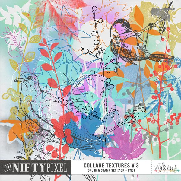 COLLAGE TEXTURES V.3 | Brush & Stamp Set