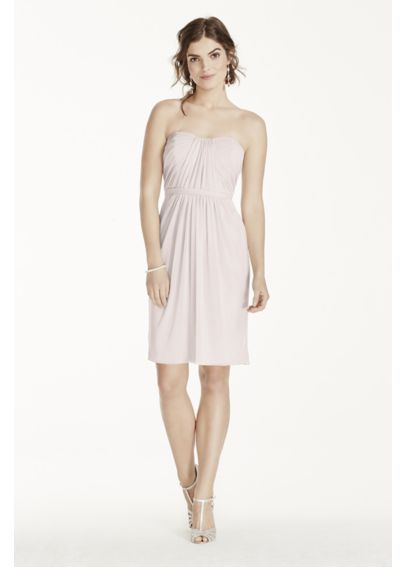 Short Strapless Mesh Dress With Pleated Bodice This Is Also Available In The Blue That I Like It S A Bridesmaid Contender