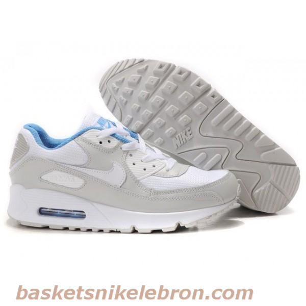 Hommes Blanc / Gris clair Nike Air Max en cuir 90 Air Max Femme Vente