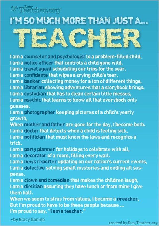 Teacher Quote - teacher jobs and roles - so much more than just a teacher