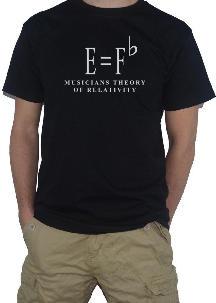 """E=Fb Musicians Theory Of Relativity/"""" T-Shirt Mens Sheet Music Top E=Mc2 Parody"""