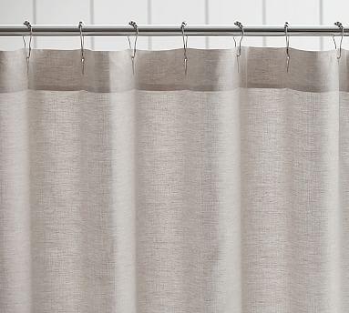 Lovely Belgian Linen Hemstitch Shower Curtain, Flax