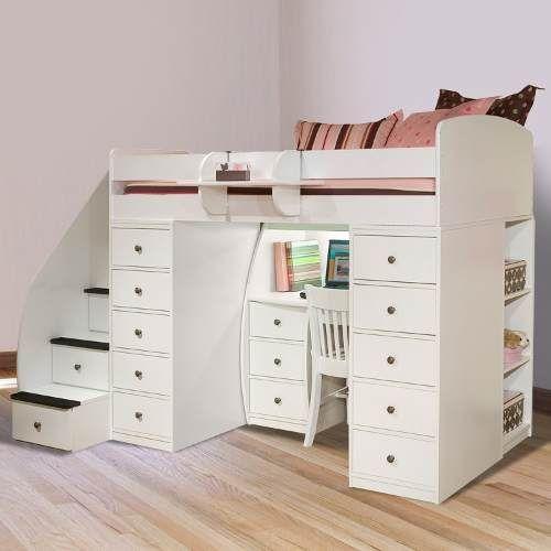 Cama con escalera cajonera escritorio cajonera room - Camas con escritorio ...