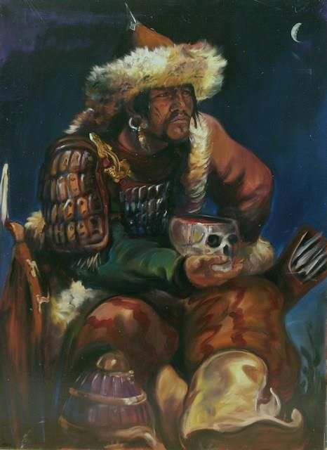 Image of a Hun Chief. Chiefs would sometimes make drinking cups out of the skulls of enemies.