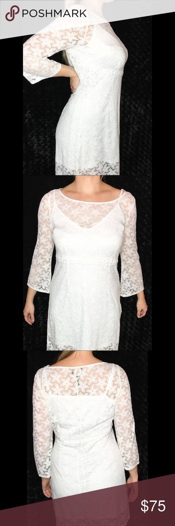 """✨TRENDY✨ White Lace Long Sleeve Dress This dress is SUPER cute! I bought this a little large as it was the last in stock with all intentions to wear it (even ripped the tag off 🤦🏼♀️) but ended up being too sick to go to the event that I planned to wear it to 😢 So it's NWOT. It's a size 12, fits like a 10. The dress hits mid-thigh on me (I'm 5'10"""") and has a built-in slip that has one strap detached (bought from Nordstrom that way) I bought this for $160 on sale. ✨NON SMOKING HOME✨ No…"""