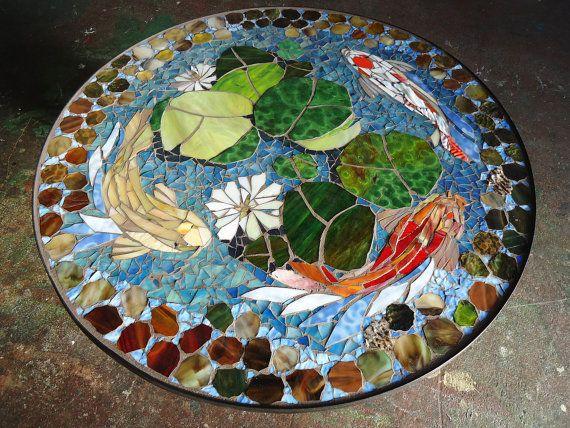 MESA de mosaico  koi pescados  Vidrieras mosaico arte  30