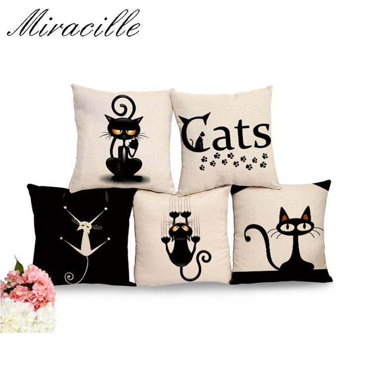 Linen Black Climbing Cat Animals Printed Decorative Cushion Cover