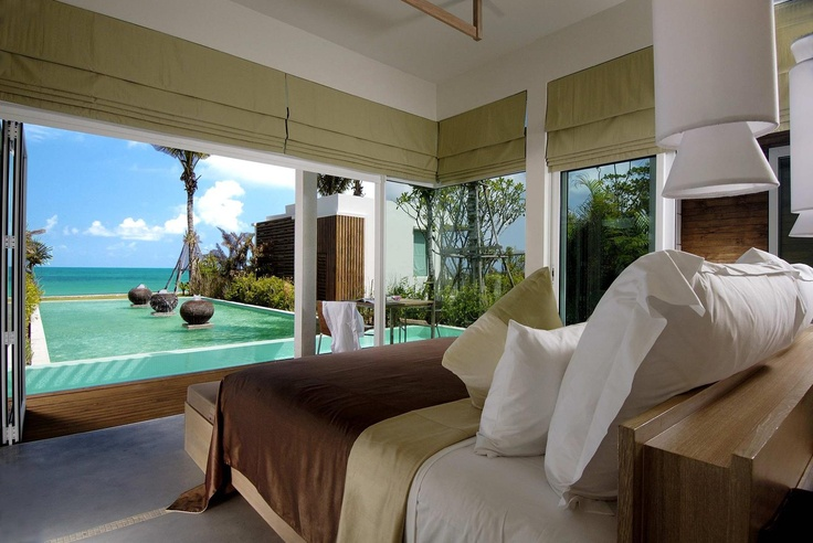 www.designpass.co  cozy bedroom with swimming pool view