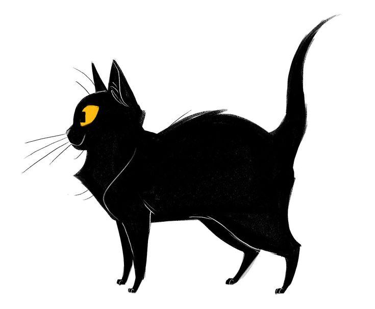 Картинка черного кота рисунок